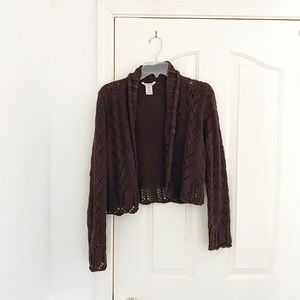 Pink Cardigan Brown Shawl Collar Crocheted Cardi